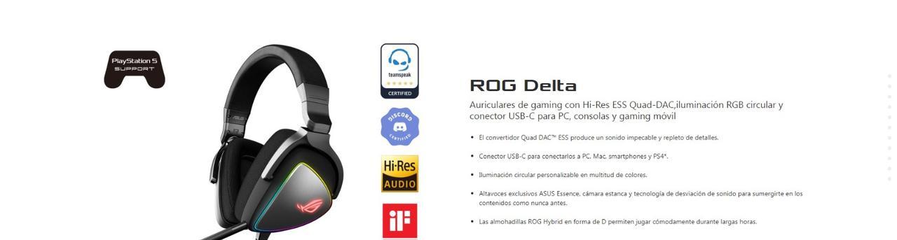 Presentación sobre Auriculares Asus Rog Delta