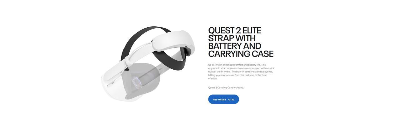 Presentación sobre Correa Elite con batería y estuche Oculus Quest 2