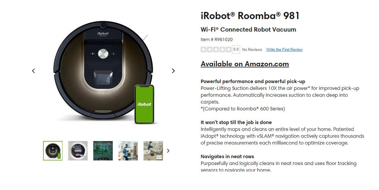 Presentación sobre Robot de limpieza iRobot Roomba 980/981